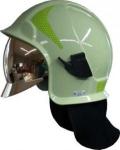 Zásahová přilba Kalisz Vulcan včetně brýlí - světle zelená - zlatý štít